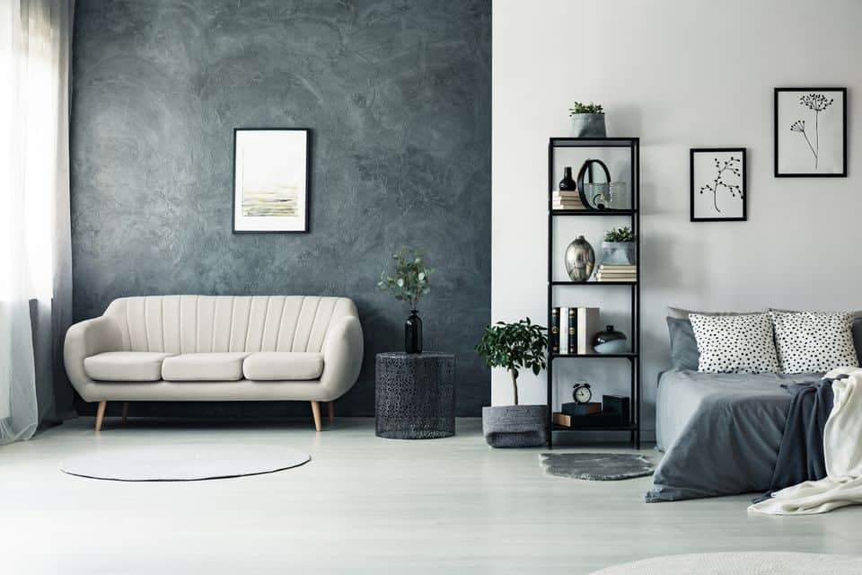 Dramatic wallpaper and charcoal grey