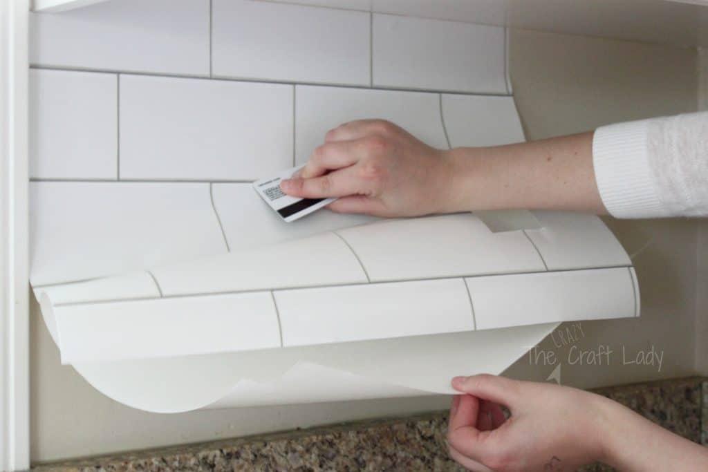 Easy, faux removable subway tile backsplash