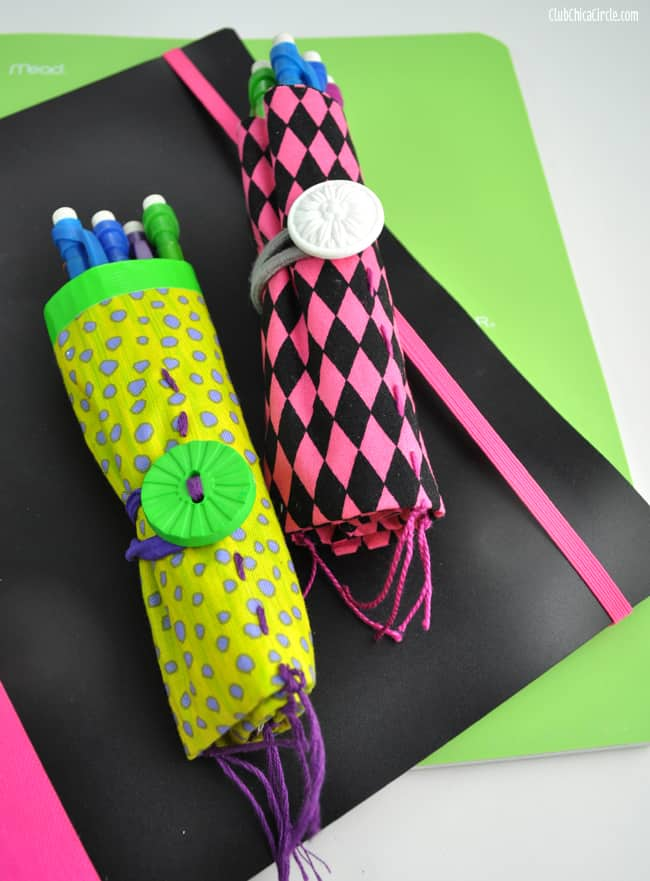 Fabric and duct tape pencil rolls