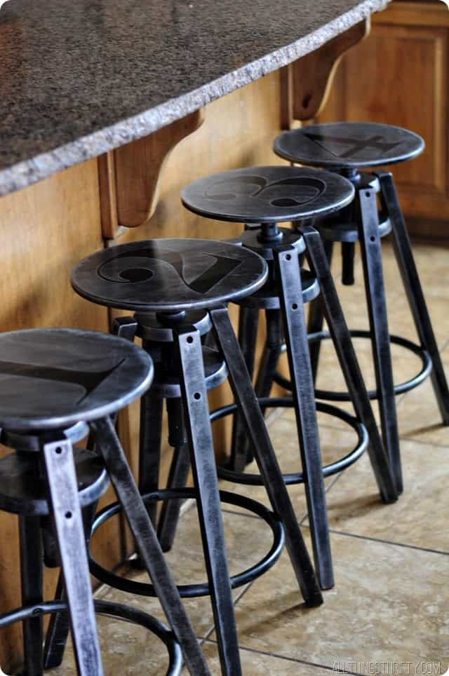 Faux galvanized metal bar stools