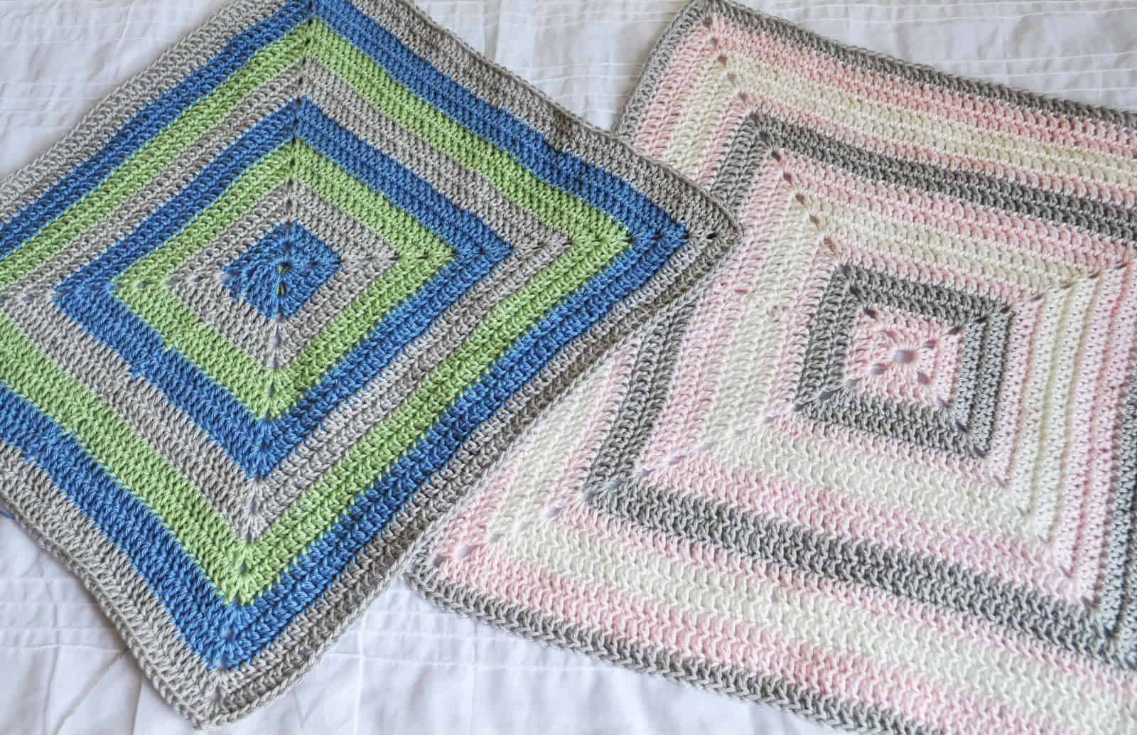 Filled in granny square baby blanket