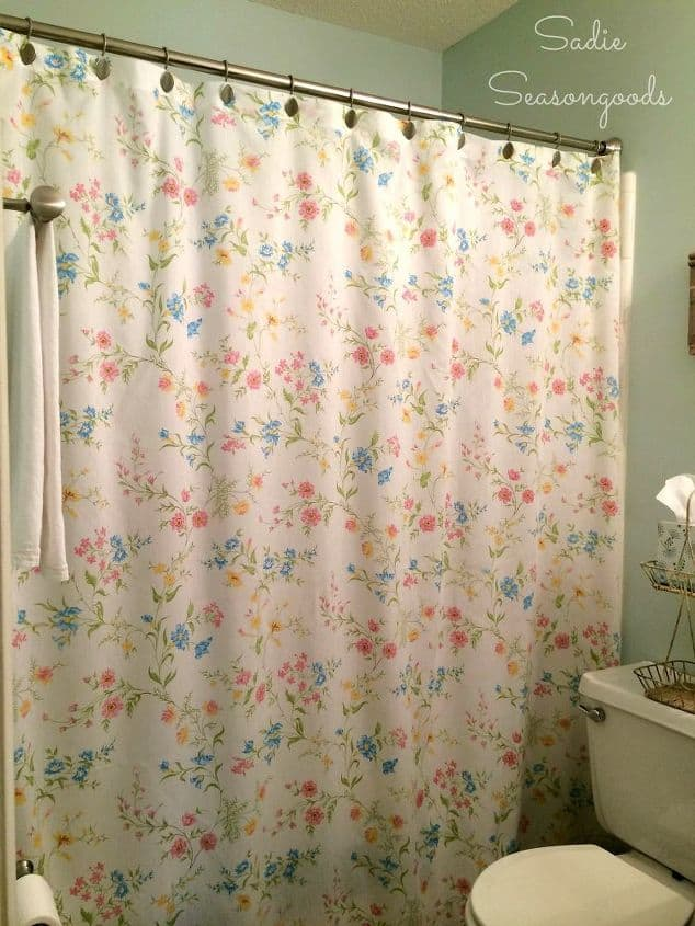 Floral shower curtain from an old bed sheet