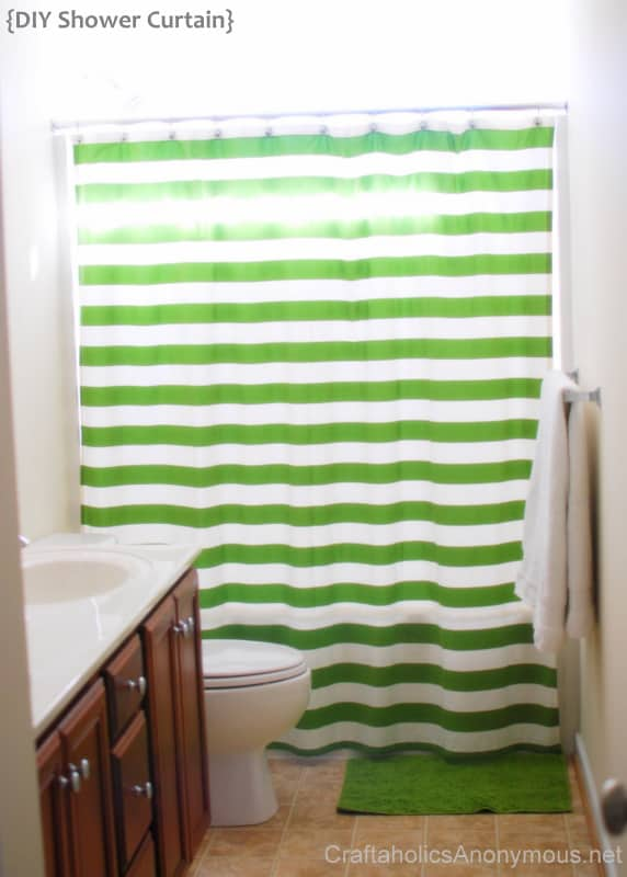 Fun striped fabric shower curtain