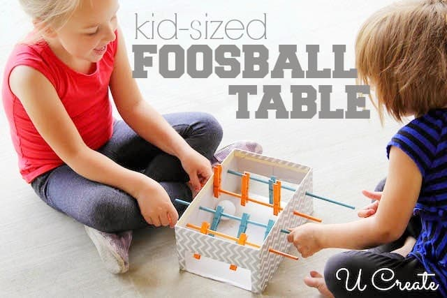 Kid sized clothespin foosball table