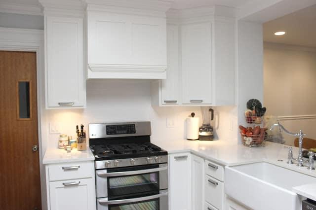 Larger backsplash that extends across the kitchen