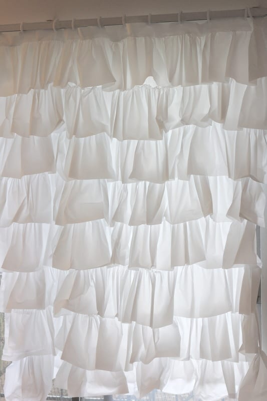 Layered ruffle shower curtain