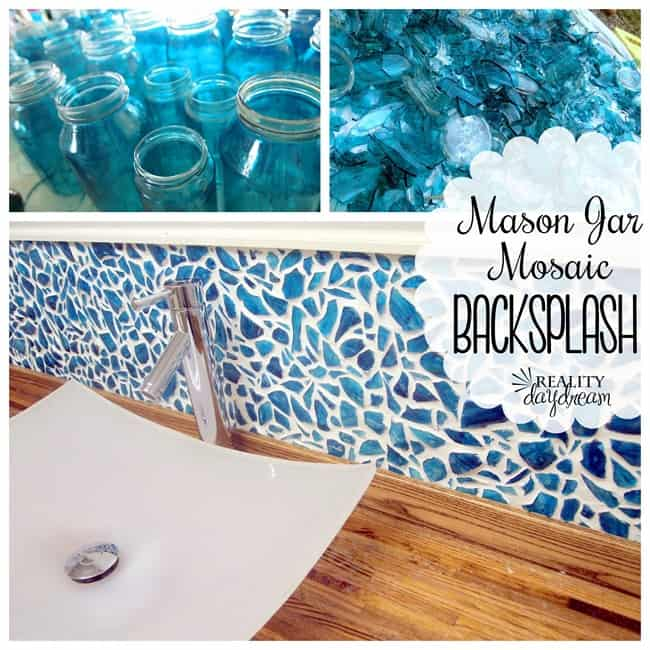 Mason jar mosaic blacksplash