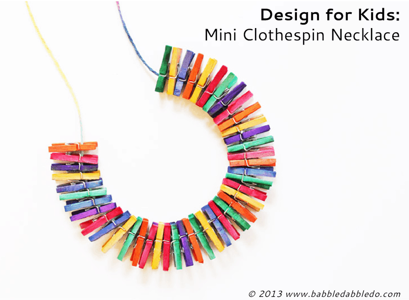 Mini clothespin necklace