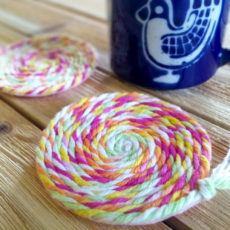 No sew twirly yarn coasters