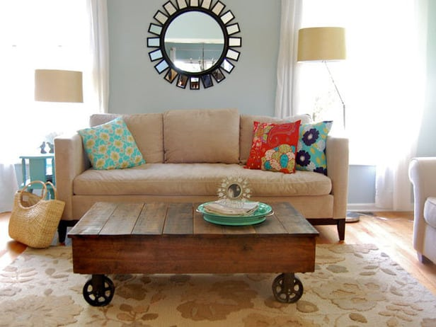 Pallet coffee table with industrial warehouse wheels