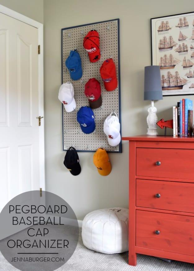 Pegboard baseball cap organizer