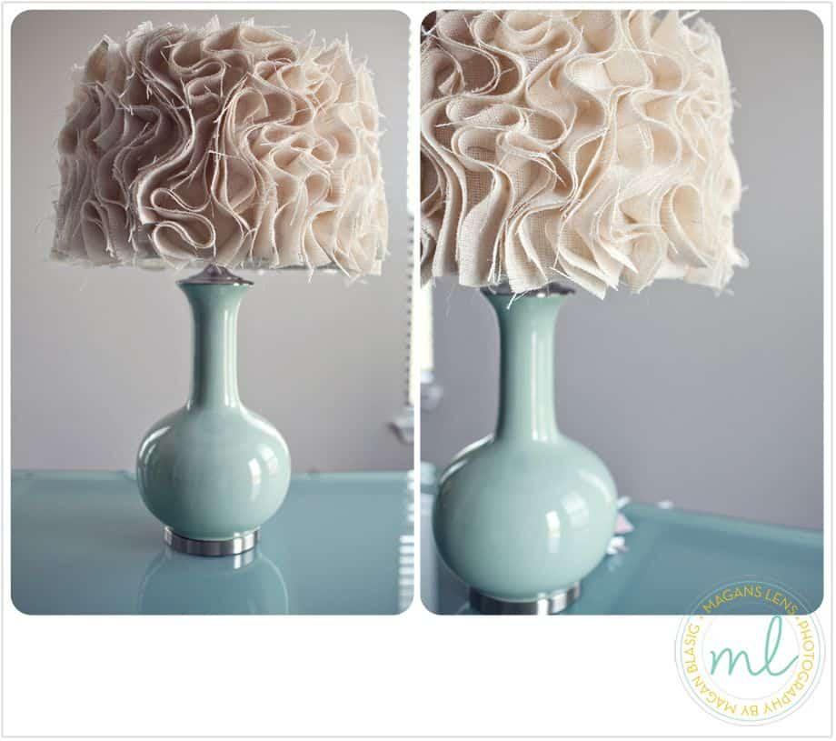 Rufflng light brown and blue anthropologie inspired lamp