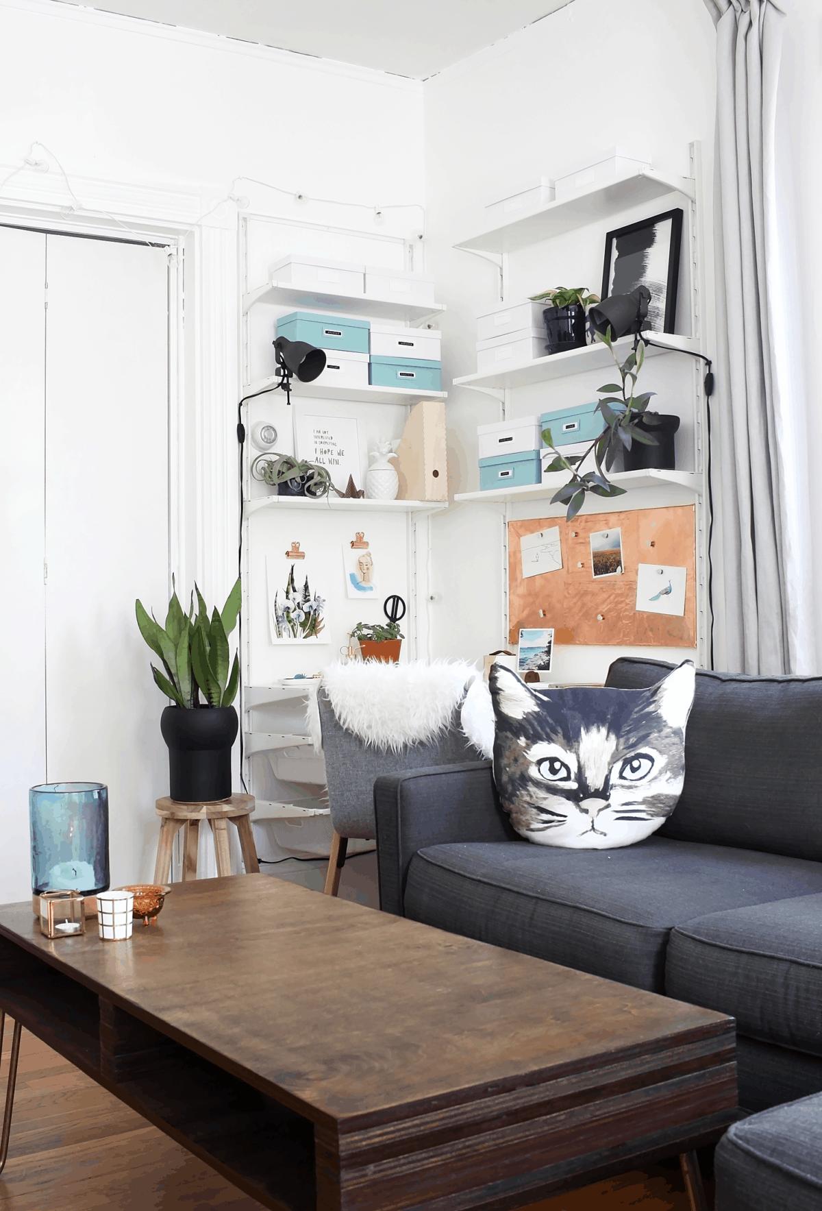 Scandinavian style corner workspace