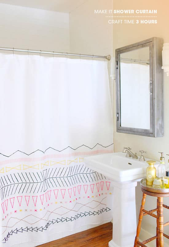 Shape embroidered shower curtain