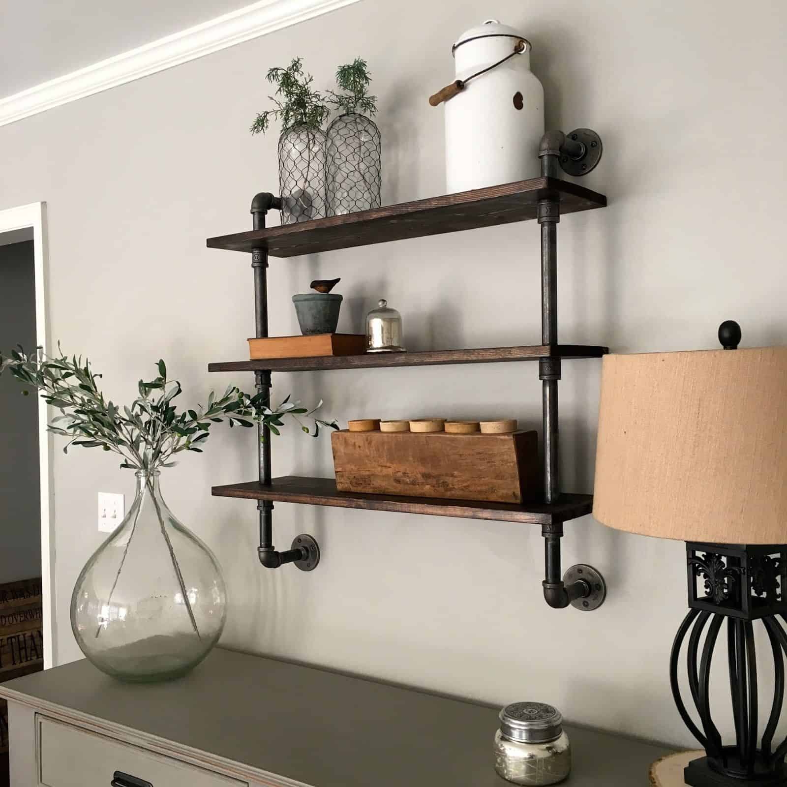 Small, wall mounted diy pipe shelving
