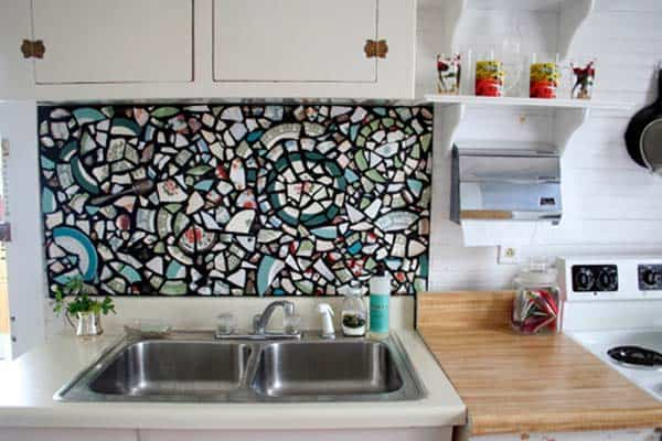 Smashed china pieces backsplash