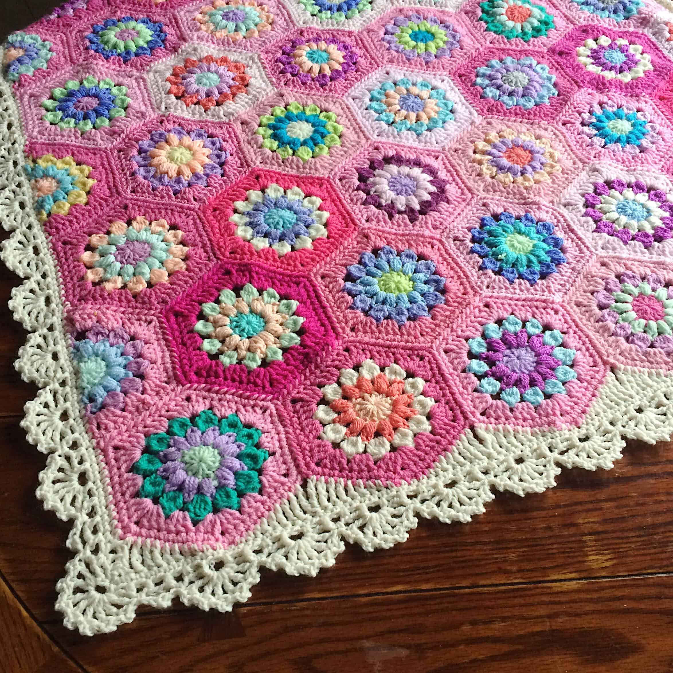 Sunburst flower crochet baby blanket