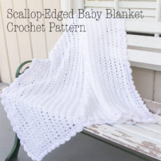 Sweet as snow scallop edged baby blanket