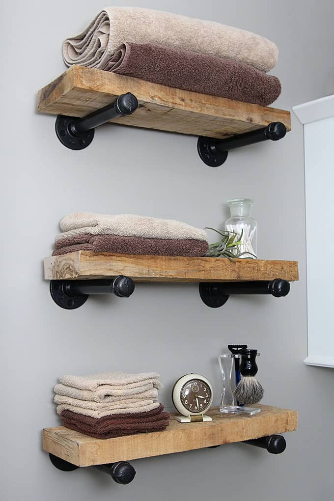 Thicker reclaimed wood and straight pipe shelves