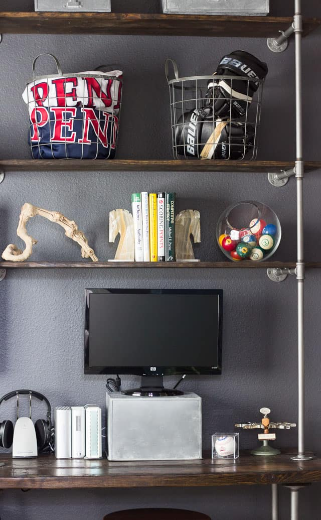 Thinner style industrial pipe shelves