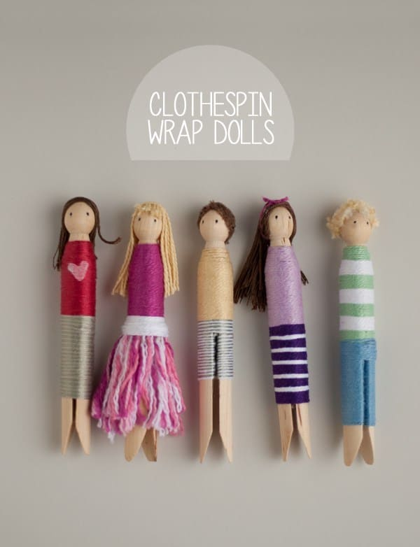 Thread wrapped wooden clothespin dolls