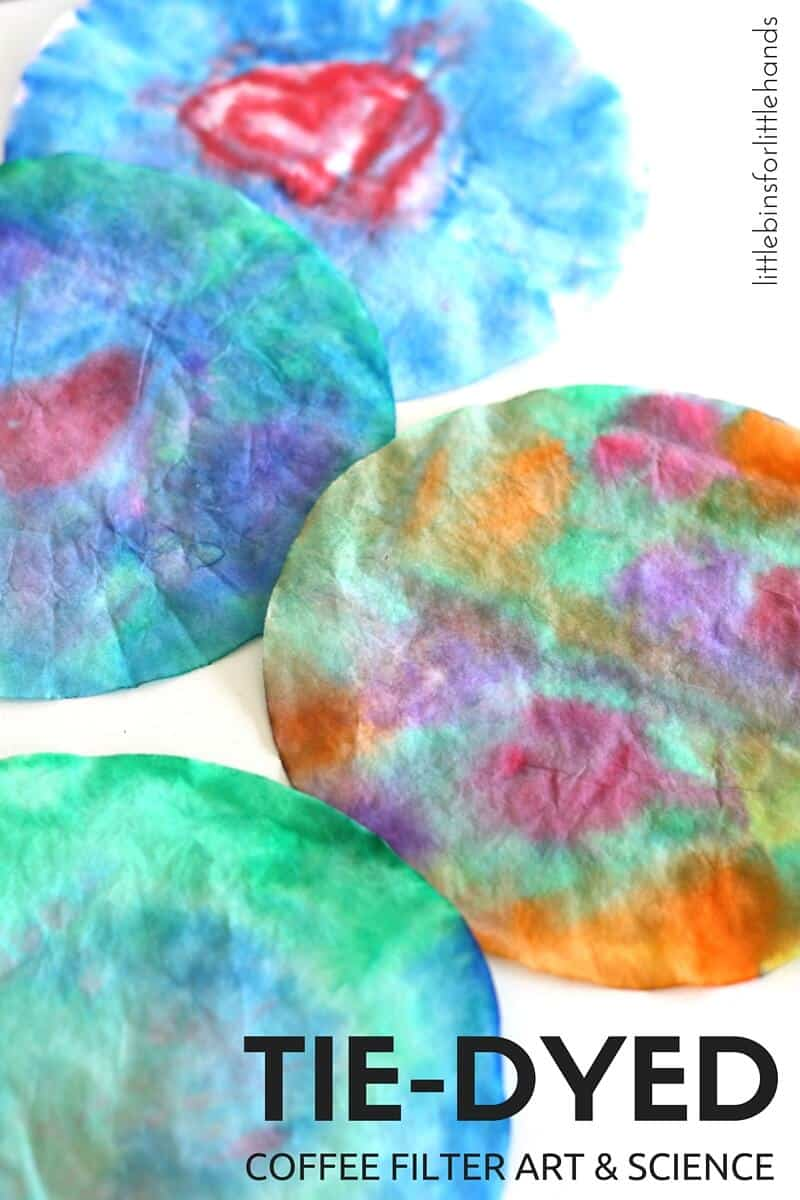 Tie dyed coffee filter art