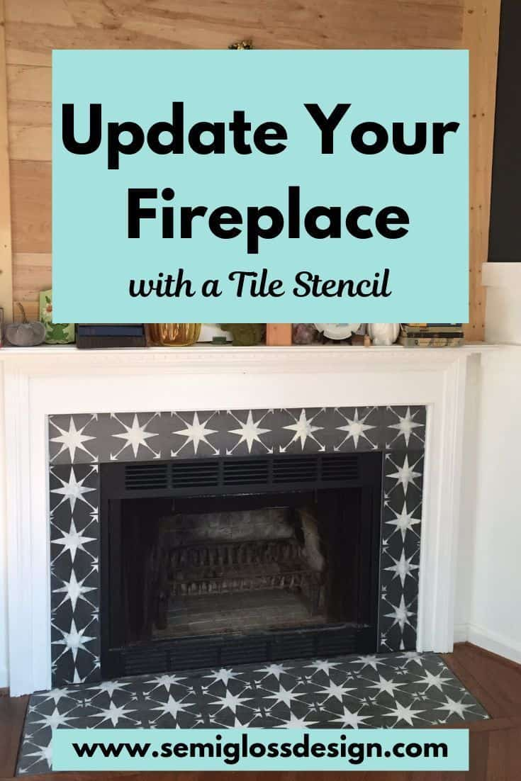 Tile stencil fireplace update