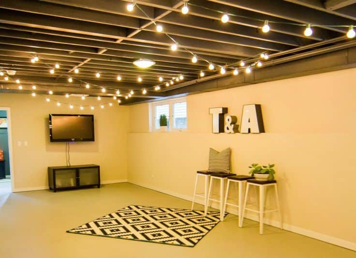 Tips to jazz up unfinished basements