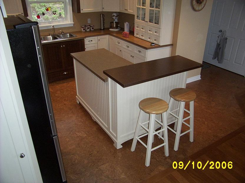 Two tier kitchen island with bar stool seating