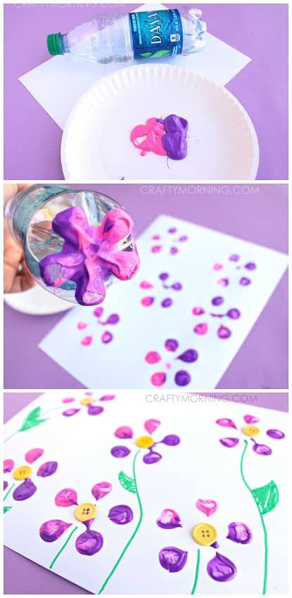 Water bottle flower painting