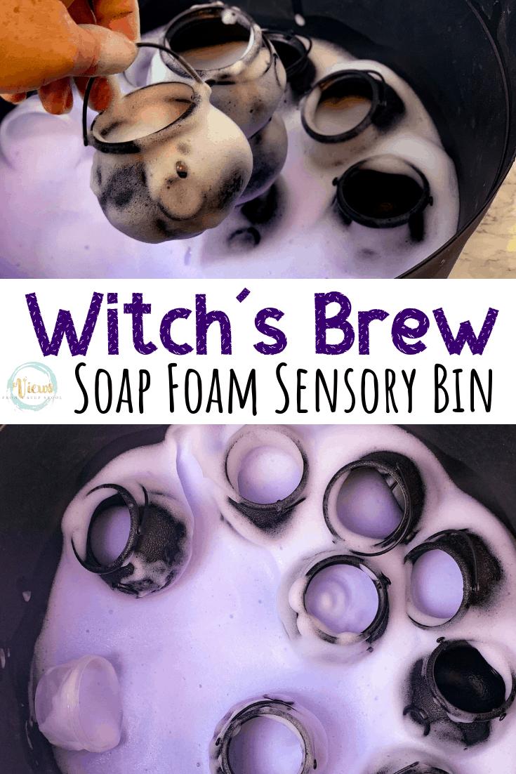 Witch's brew soap foam sensory bin