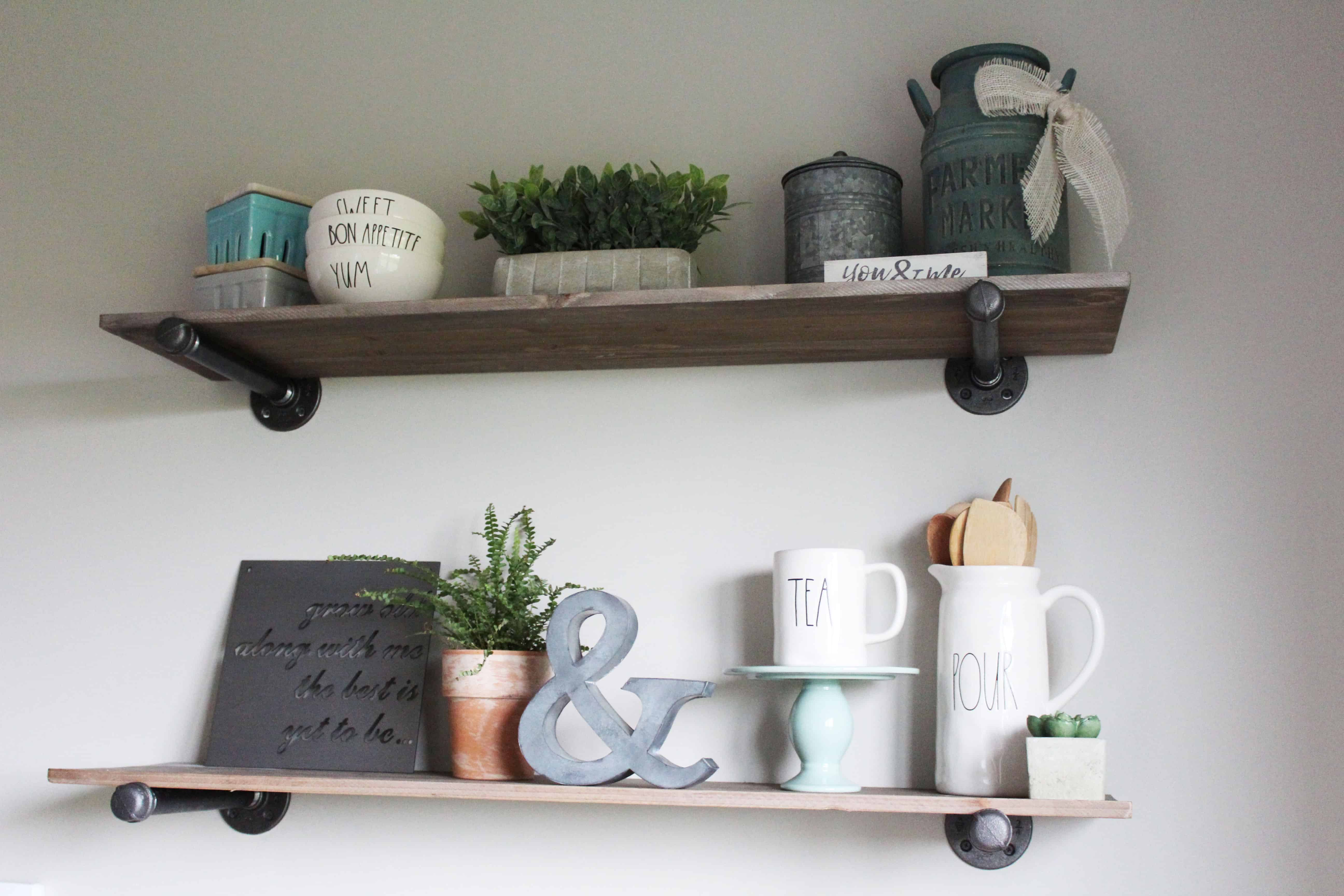 Wood and straight pipe shelves