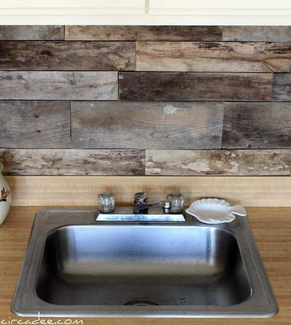 Wooden palette backsplash