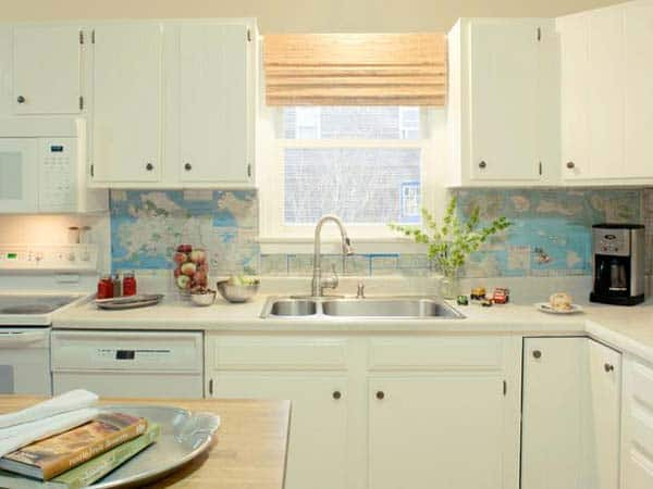 World map backsplash