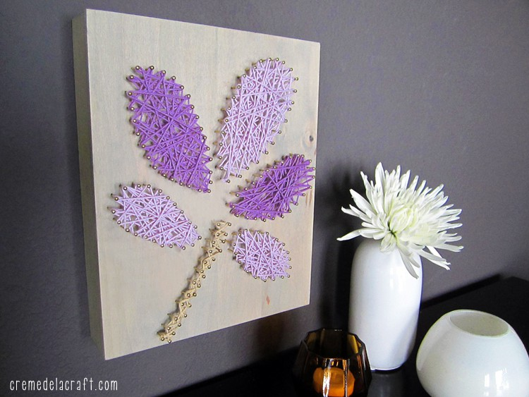 Yarn and nail wooden wall art