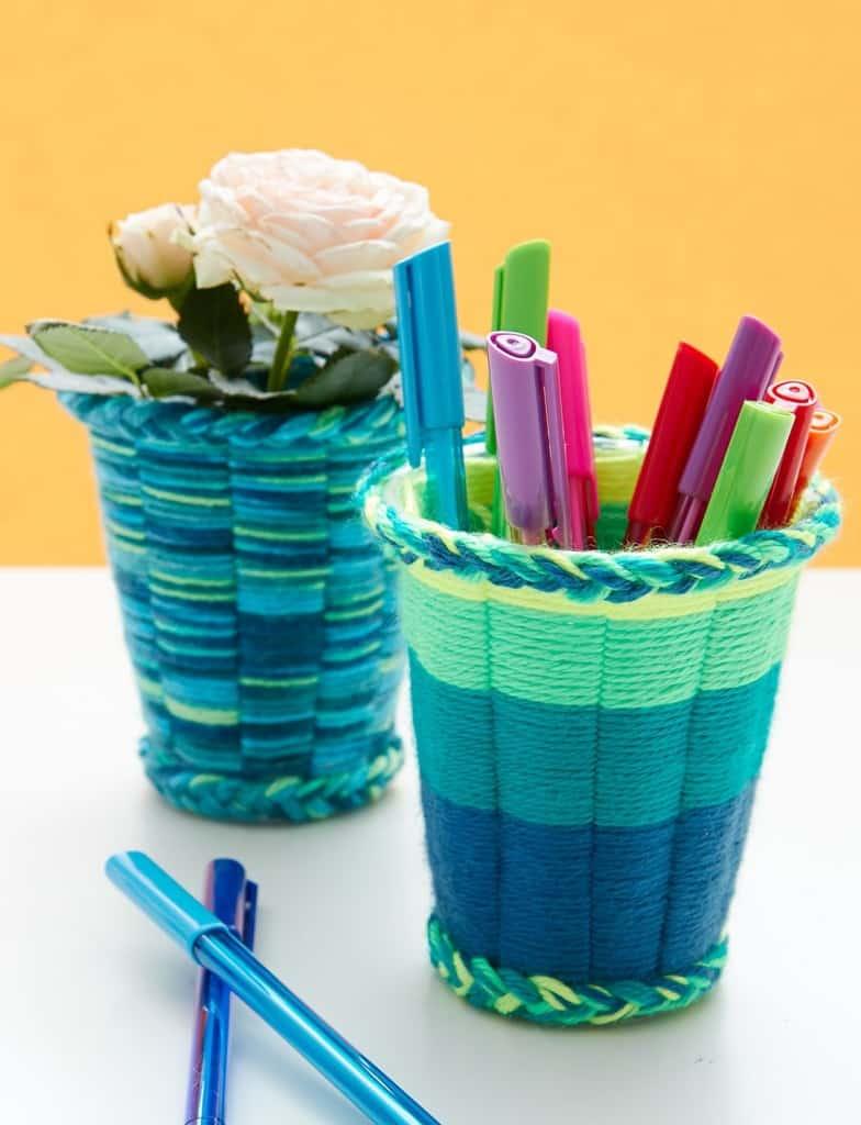 Yarn woven trinket cups