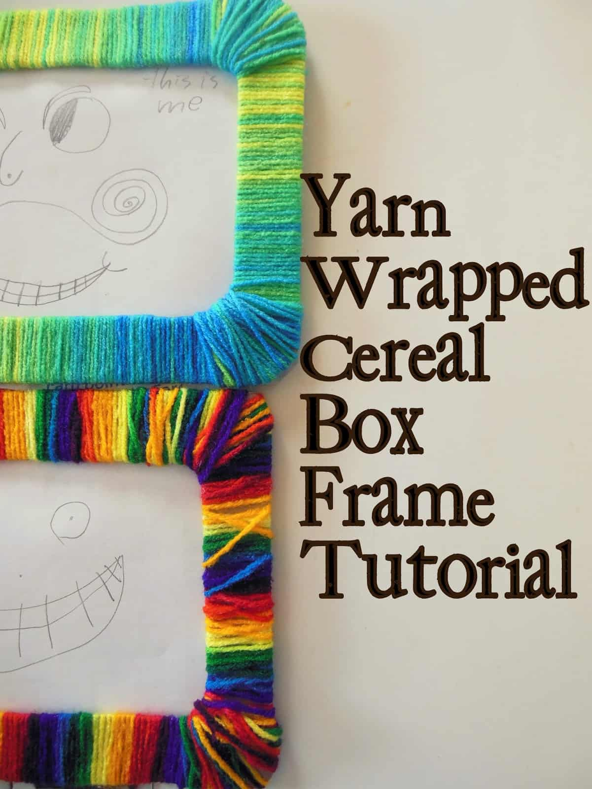 Yarn wrapped cereal box picture frame