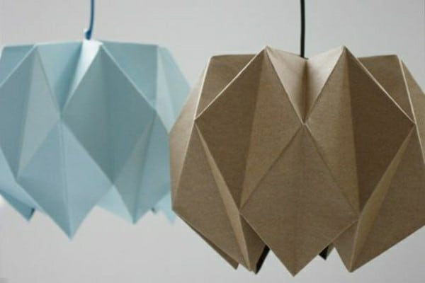 Brown and blue origami lampshades