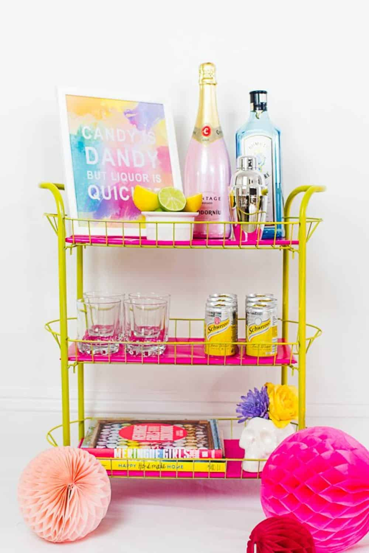 Diy colorful bar cart
