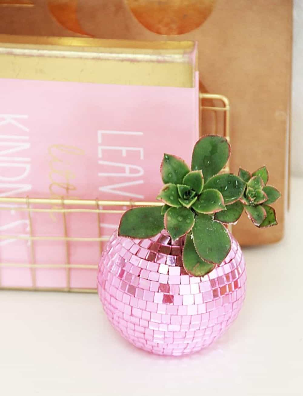 Diy disco ball planter