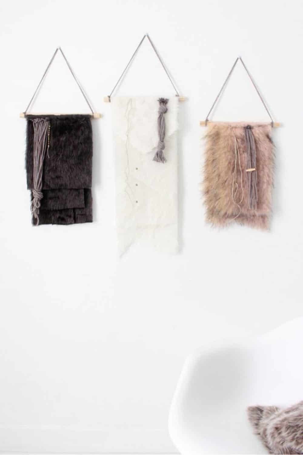 Diy faux fur wall hanging