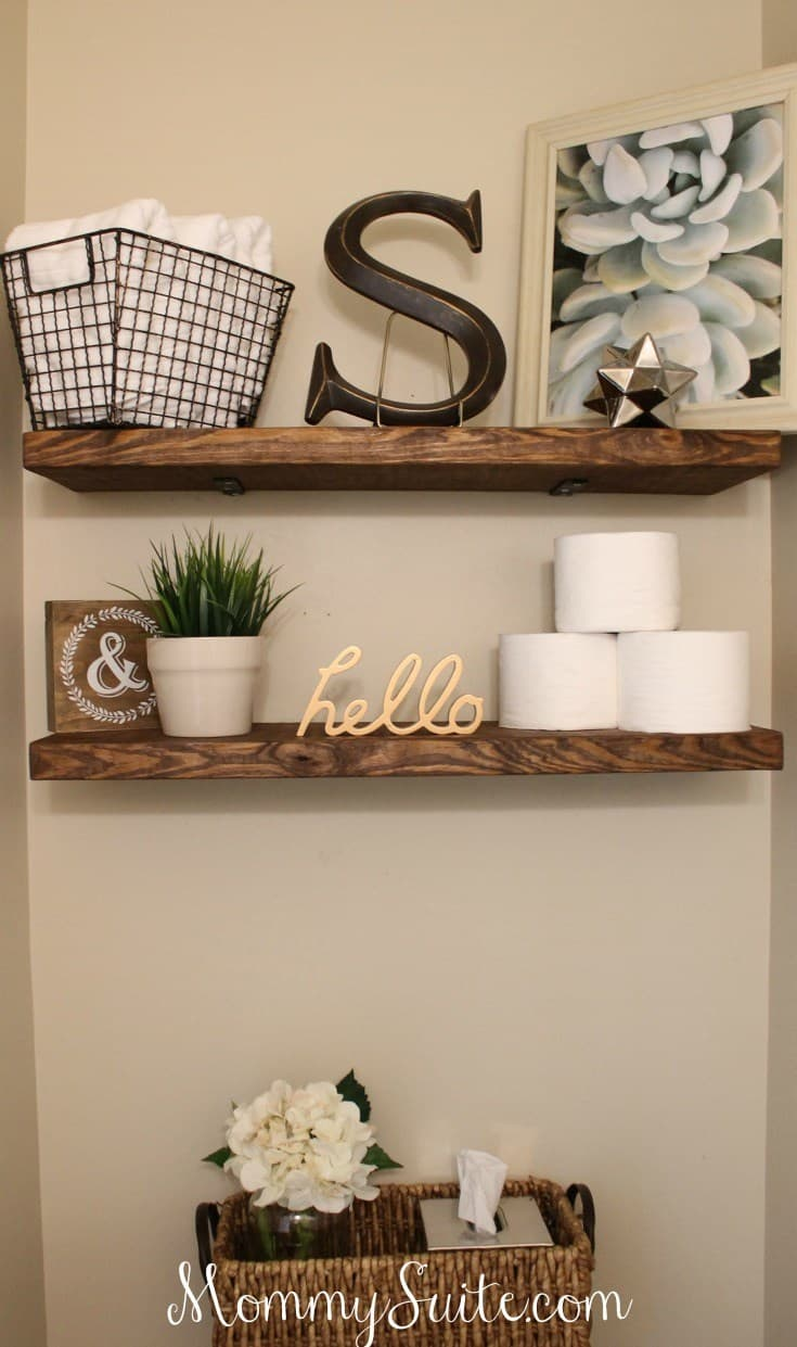 Diy floating bathroom shelves