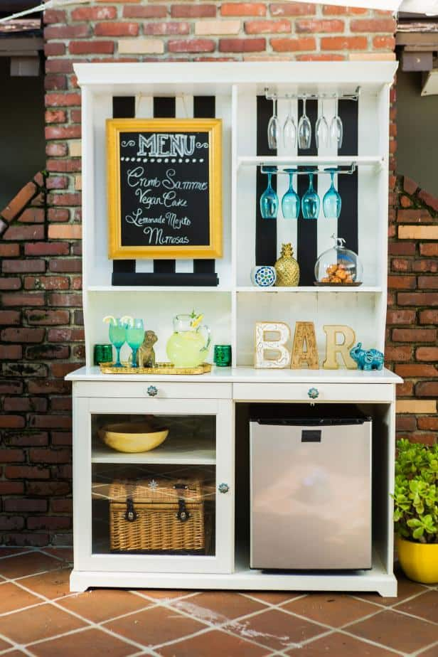 Diy hutch upcycle to outdoor bar
