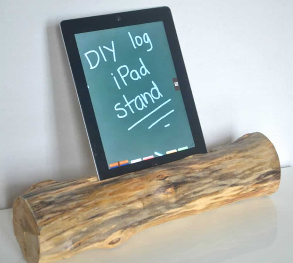 Diy log ipad holder