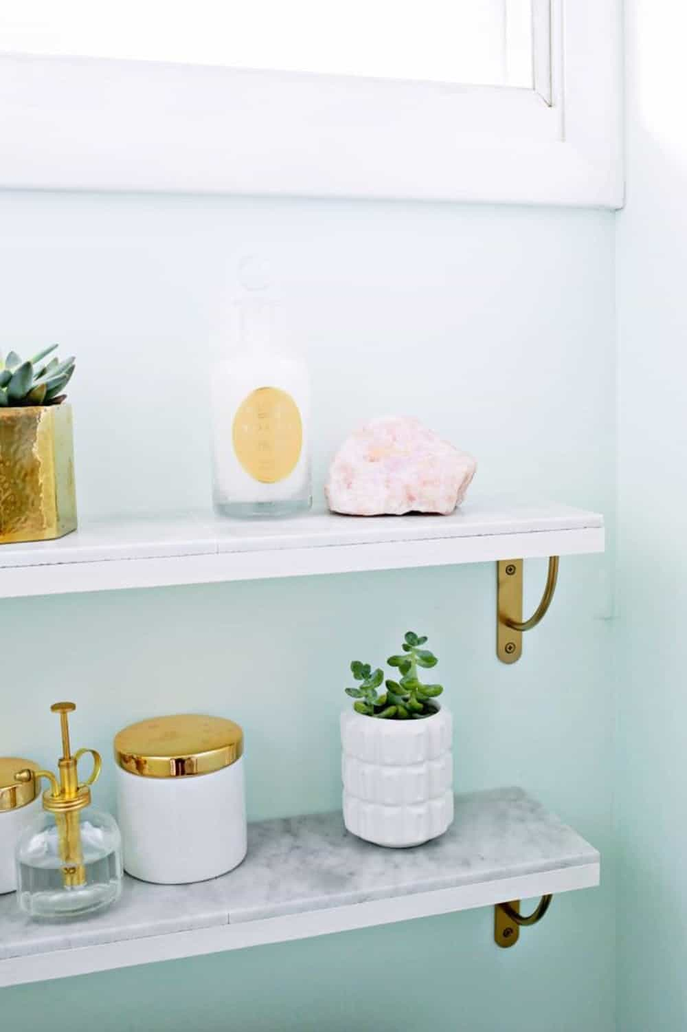 Diy marble shelving