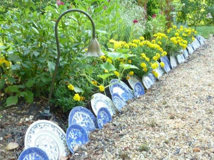 Garden plate edging idea