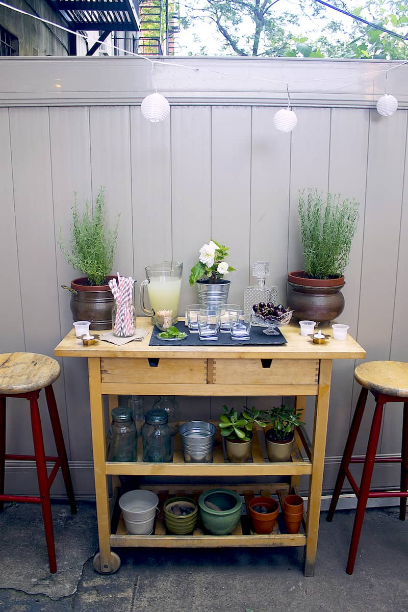 How to style an outdoor bar cart