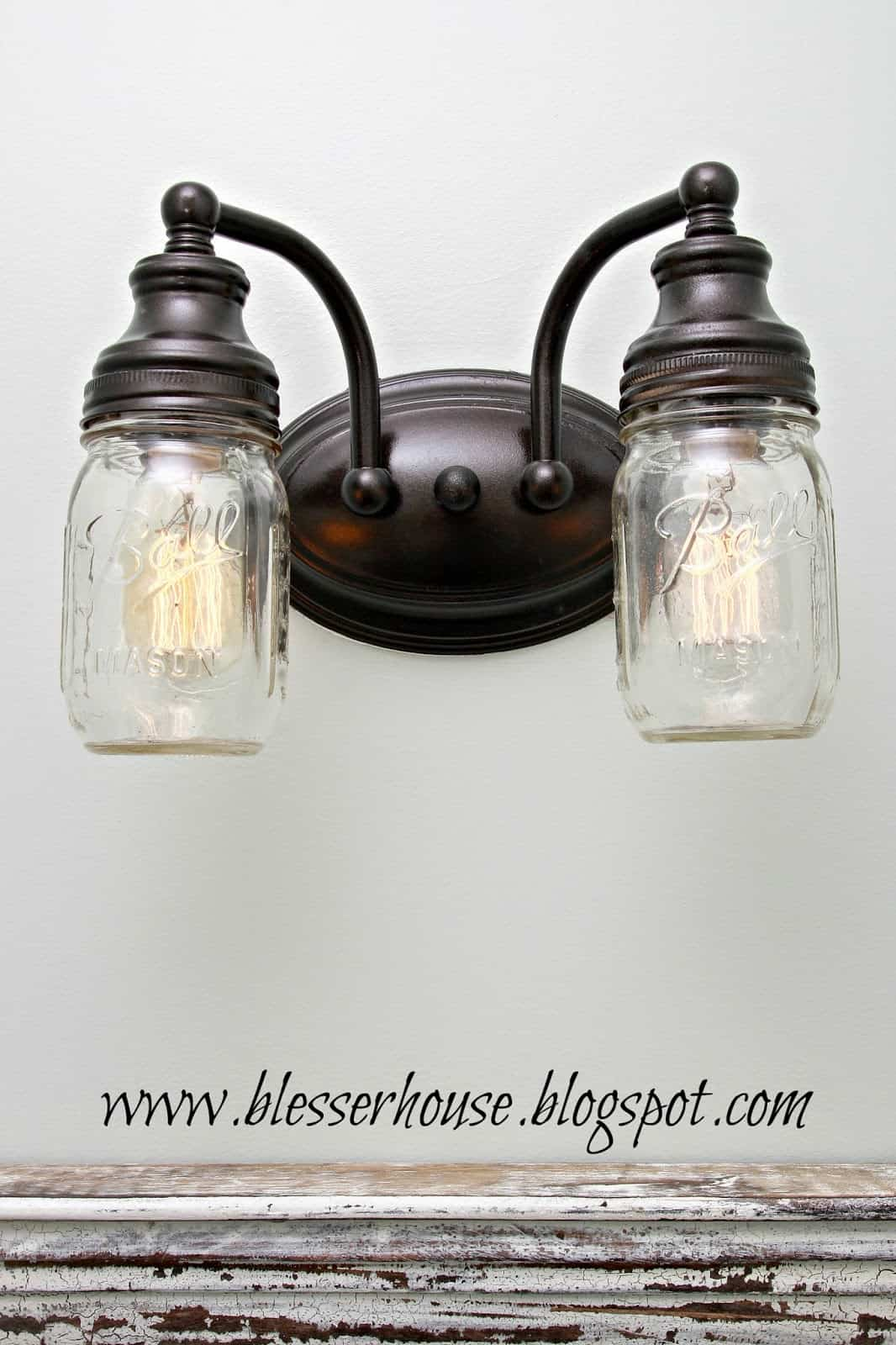 Mason jar bathroom light diy