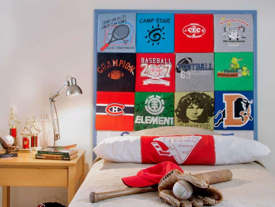 Tshirt headboard diy
