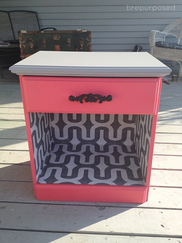 $8 paint and wallpaper night stand project